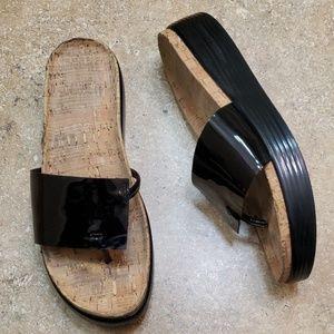 Donald J. Pliner Fifi Black Pantent Sandals Size 8